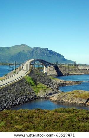 Beautiful view at Atlantic road bridge, Norway - stock photo