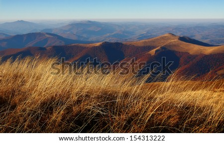 Beautiful view at autumn mountains