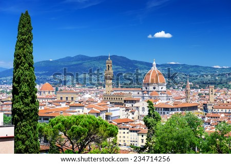 Beautiful view Cathedral of Santa Maria del Fiore (Duomo), Florence, Italy - stock photo