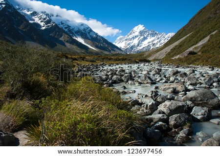 Beautiful view during walk to glacier in Mount Cook National Park, South Island, New Zealand - stock photo
