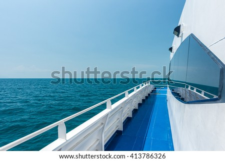Beautiful view from a yacht, open view sea with blue sky - stock photo