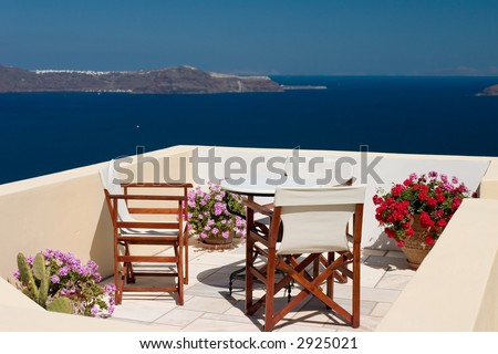 Beautiful view from balcony on the Santorini island