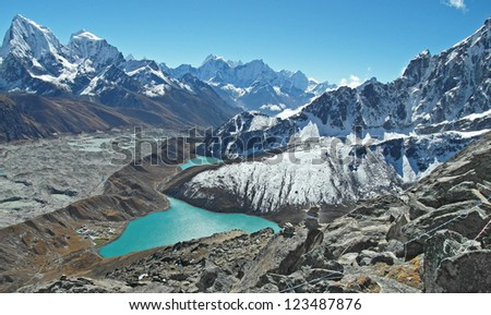 Beautiful view from Gokyo Ri, Everest region, Nepal - stock photo