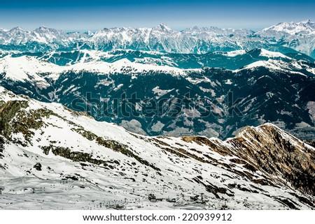 Beautiful view from Kaprun ski resort in Alps - stock photo