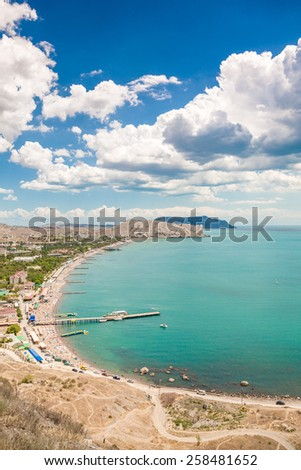 Beautiful view is opening from the very top wall of the old castle in Sudak, Crimea - stock photo