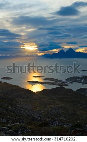 Beautiful view Lofoten Islands in Norway - stock photo