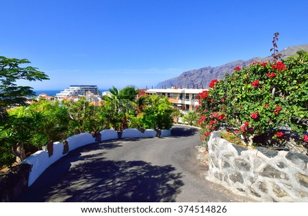 Beautiful view of a road surrounded by flowers in Puerto de Santiago, Tenerife, Spain - stock photo