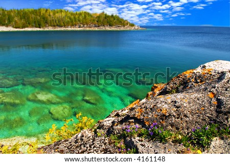 Beautiful view of a scenic lake with clear water. Georgian Bay, Canada. - stock photo
