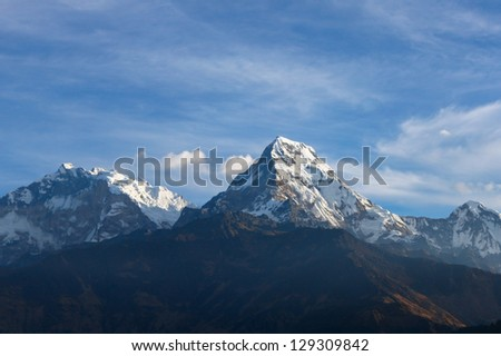 Beautiful view of Annapurna range, Himalayan mountains, Nepal, from Poonhill viewpoint