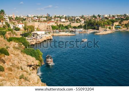 Beautiful view of Antalia harbor, Turkey - stock photo