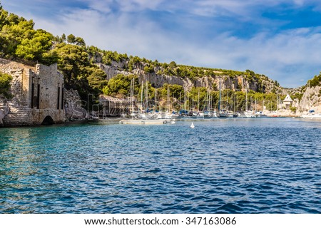 Beautiful View Of Boats In Romantic Calanque- Sheltered Inlet Near Cassis, France, Europe - stock photo