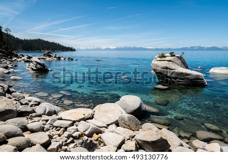 Beautiful view of Bonsai Rock of Lake Tahoe