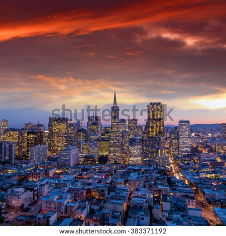 Beautiful view of  business center in downtown San Francisco at sunset. - stock photo