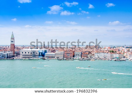 Beautiful view of Canal Grande with San Giorgio Maggiore church in the background at sunset, San Marco, Venice, Italy - stock photo