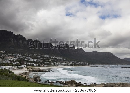 beautiful view of Cape Town with a cloudy sky.