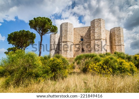 Beautiful view of Castel del Monte, the famous castle built in an octagonal shape by the Holy Roman Emperor Frederick II in the 13th century in Apulia, southeast Italy - stock photo
