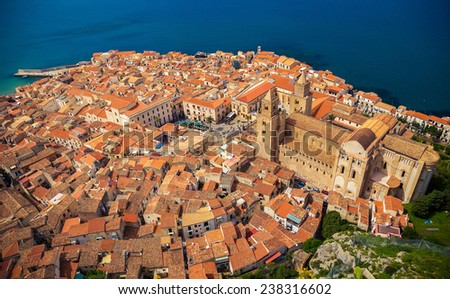beautiful view of Cefalu old town from bird's eye view, Sicily - stock photo