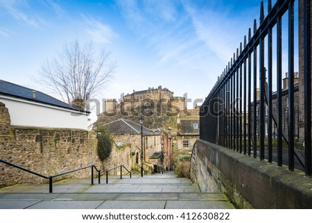 beautiful view of Edinburgh Castle from Vennel in Edinburgh,Scotland - stock photo