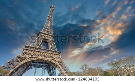 Beautiful view of Eiffel Tower in Paris.