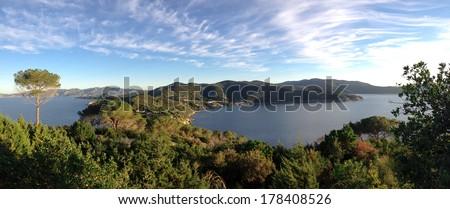 beautiful view of Elba Island - stock photo