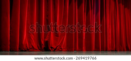 Beautiful view of elegant traditional theatre curtain - stock photo