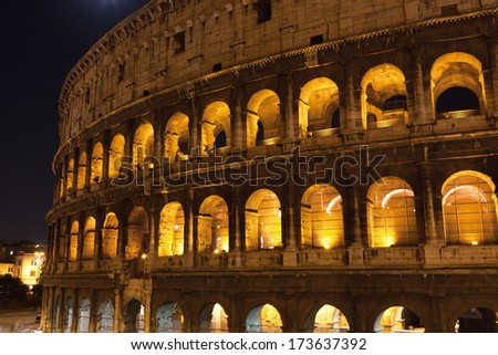 Beautiful view of famous ancient Colosseum in Rome, Italy