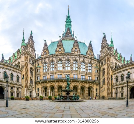 Beautiful view of famous Hamburg town hall with Hygieia fountain from courtyard near market square and lake Binnenalster in Altstadt quarter, Hamburg, Germany - stock photo