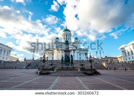 Beautiful view of famous Helsinki Cathedral in beautiful evening light, Helsinki, Finland - stock photo