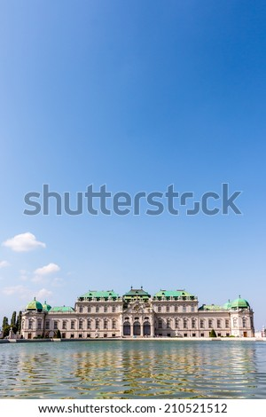 Beautiful view of famous Schloss Belvedere(Palace) with fountain and blue sky in Vienna, Austria  - stock photo