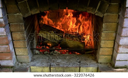 Beautiful view of fire close, logs and coals