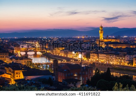 Beautiful view of Florence from Michelangelo's hill on a sunset