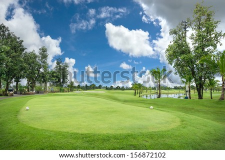 Beautiful view of golf field - stock photo