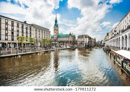 Beautiful view of Hamburg city center with town hall and Alster river, Germany - stock photo