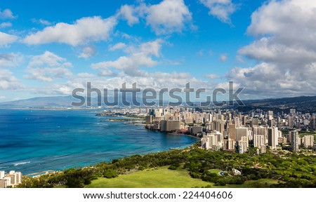 Beautiful view of Hawaii- Honolulu city skyline and beach coastline - stock photo