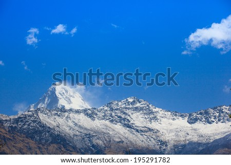 Beautiful view of Himalayan mountains in morning when see from Ghorepani Village, Poon Hill Trekking way, Nepal  - stock photo