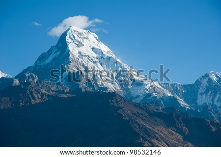 Beautiful view of Himalayan mountains in morning when see from the top of Poonhill peak, Nepal - stock photo