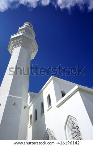 Beautiful view of Hussain Mosque, Seremban 2 from lower angle in the evening - stock photo