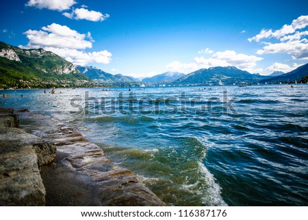 Beautiful view of Lake  Annecy in French Alps, on a summer day. Haute Savoie. French Alps. France. - stock photo