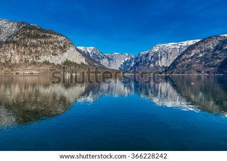 Beautiful View Of Lake Hallstater See With Mountains In The Background-Hallstatt,Austria,Europe - stock photo