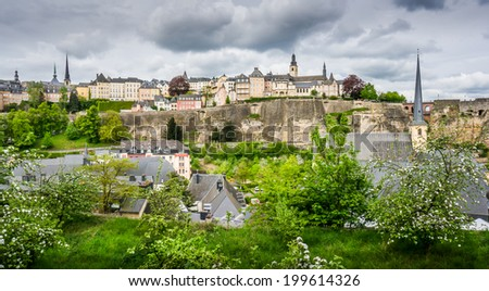 Beautiful view of Luxembourg City from the Rham Plateau - stock photo