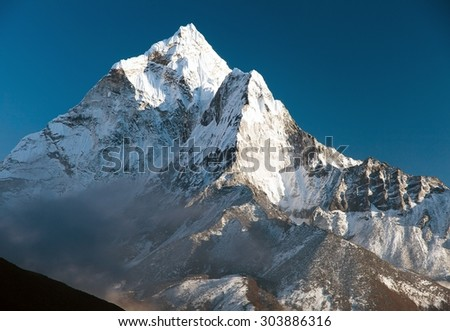 beautiful view of mount Ama Dablam - way to Everest base camp, Khumbu valley, Solukhumbu, Sagarmatha national park Nepal - stock photo