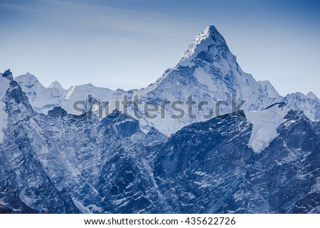 beautiful view of mount Ama Dablam with beautiful sky on the way to Everest base camp, Khumbu valley, Sagarmatha national park, Everest area, Nepal - stock photo