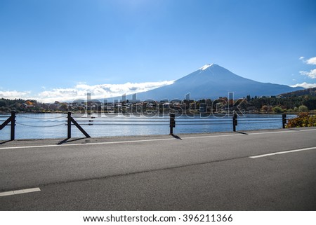 Beautiful view of Mount Fuji at Lake Kawaguchi in autumn, This mountain is an famous place of Japan