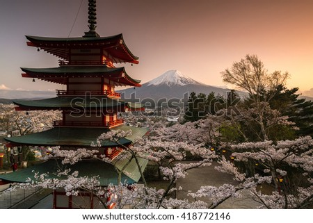 Beautiful view of Mountain Fuji and Chureito Pagoda with cherry blossom in spring, Fujiyoshida, Japan