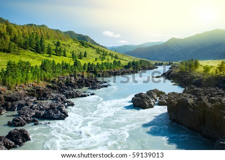 Beautiful view of mountain river in summer,Altai Mountains,Russia - stock photo