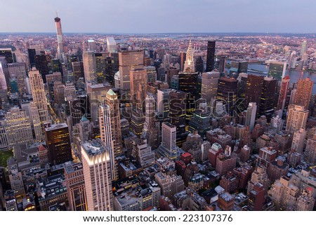 beautiful view of new york city with skyscrapers at sunset