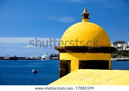 Beautiful view of old castle Fortaleza de Sao Tiago in Funchal, Madeira, Portugal - stock photo