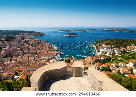 Beautiful view of old harbor in Hvar town, Croatia - stock photo