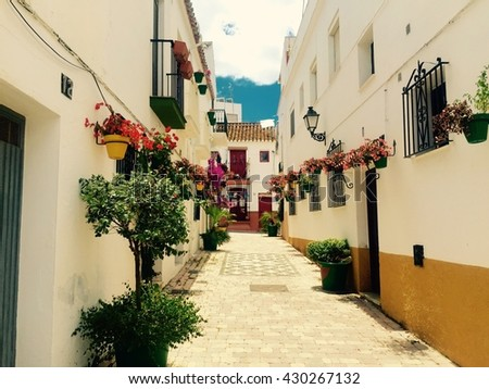 Beautiful view of old town street in marvelous city of Estepona in spanish Andalucia