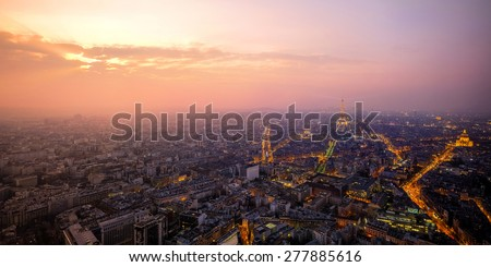 Beautiful view of Paris, France,at sunset